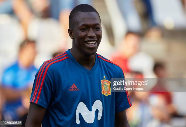 Pape Cheikh of Spain looks on prior to the 2019 UEFA Under 21 qualifier match between Spain U21 and Albania U21 at Nuevo Arcangel Stadium on...