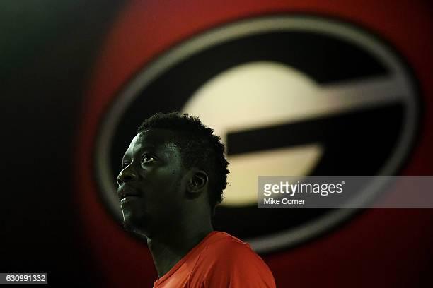 Pape Diatta of the Georgia Bulldogs looks on during pregame shoot around for the Georgia Bulldogs' basketball game against the South Carolina...