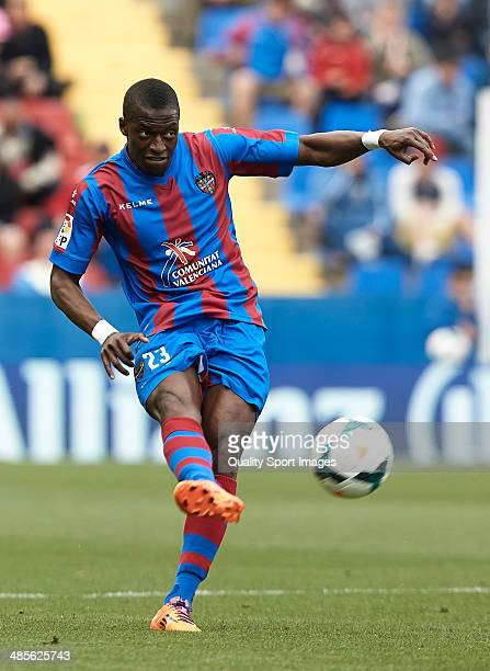 Pape Diop of Levante UD in action during the La Liga match between Levante UD and Getafe CF at Ciutat de Valencia on April 19 2014 in Valencia Spain
