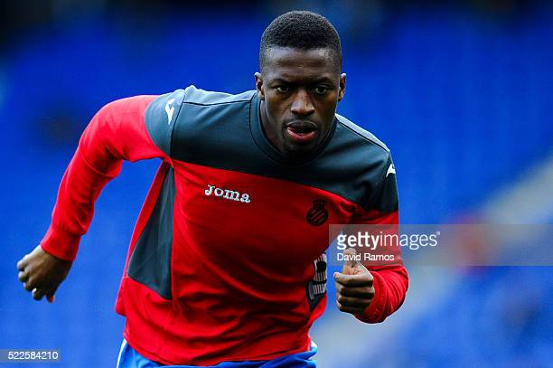 Pape Diop of RCD Espanyol in action during the warm up prior to the La Liga match between Real CD Espanyol and Celta Vigo at CornellaEl Prat Stadium...