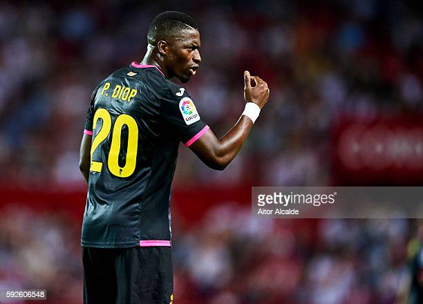 Pape Diop of RCD Espanyol reacts during the match between Sevilla FC vs RCD Espanyol as part of La Liga at Estadio Ramon Sanchez Pizjuan on August 20...
