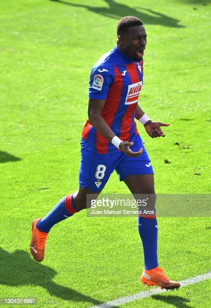 Pape Diop of SD Eibar celebrates after scoring his team's first goal during the La Liga Santander match between SD Eibar and SD Huesca at Estadio...