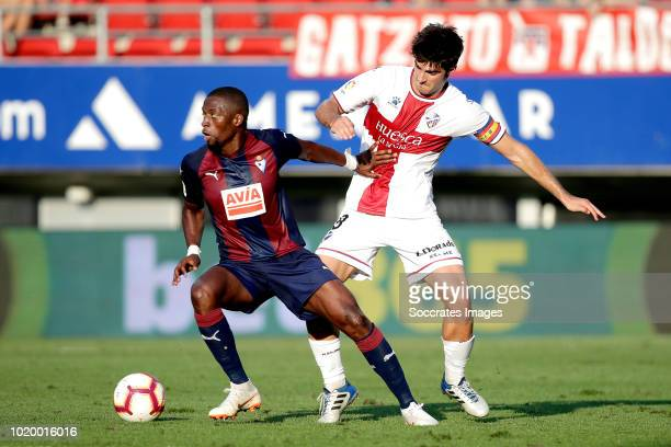 Pape Diop of SD Eibar Gonzalo Melero of SD Huesca during the La Liga Santander match between Eibar v SD Huesca at the Estadio Municipal de Ipurua on...