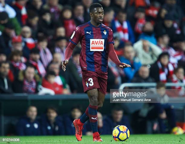 Pape Diop of SD Eibar in action during the La Liga match between Athletic Club and Eibar at Estadio San Mames on January 26 2018 in Bilbao