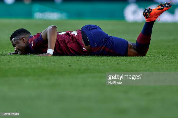 Pape Diop of SD Eibar lays down on the pitch during the La Liga game between Valencia CF and SD Eibar at Mestalla on April 29 2018 in Valencia Spain