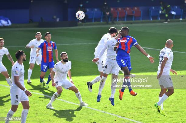 Pape Diop of SD Eibar scores his team's first goal during the La Liga Santander match between SD Eibar and SD Huesca at Estadio Municipal de Ipurua...