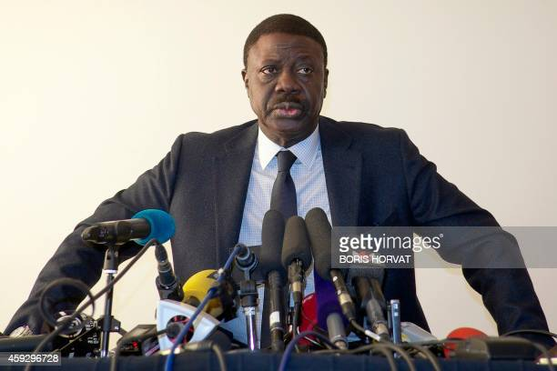 Pape Diouf former president of French L1 football team Olympique de Marseille responds to journalists' questions in Marseille on November 20 a few...