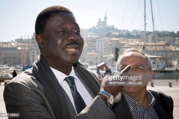 Pape Diouf former president of the Olympique de Marseille football club and independent candidate for the March 2014 mayoral election in Marseille...