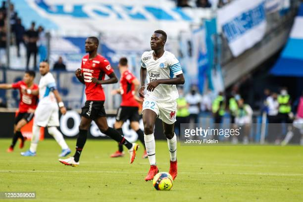 Pape GUEYE of Marseille during the Ligue 1 Uber Eats match between Marseille and Rennes at Orange Velodrome on September 19, 2021 in Marseille,...