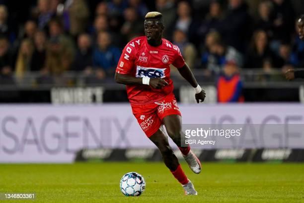 Pape Habib Gueye of KV Kortrijk during the Jupiler Pro League match between Club Brugge and KV Kortrijk at Jan Breydelstadion on October 15, 2021 in...
