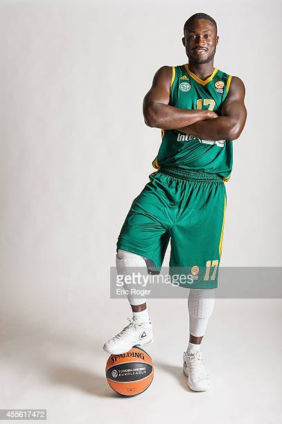 Pape Philipe Amagou #17 of Limoges CSP poses during the Limoges CSP 2014/2015 Turkish Airlines Euroleague Basketball Media Day at Beaublanc on...