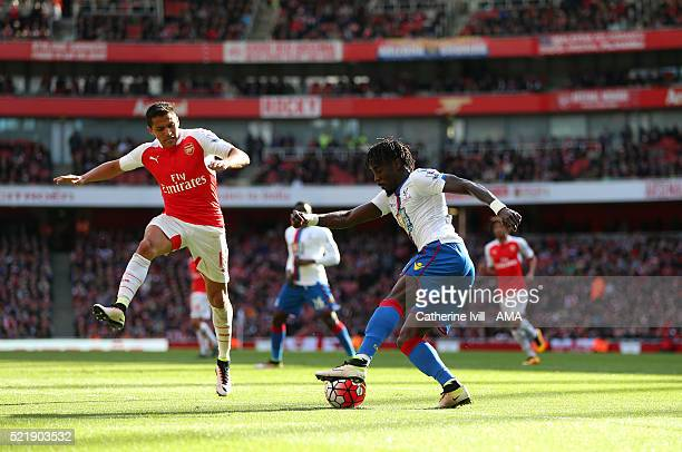 Pape Souare of Crystal Palace and Alexis Sanchez of Arsenal during the Barclays Premier League match between Arsenal and Crystal Palace at the...