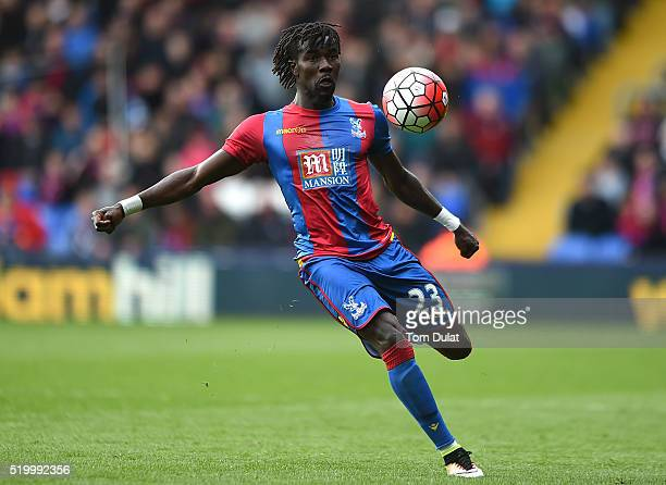 Pape Souare of Crystal Palace in action during the Barclays Premier League match between Crystal Palace and Norwich City at Selhurst Park on April 9...
