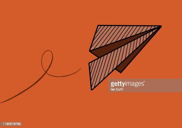 paper airplane flat design - illustration stock-fotos und bilder