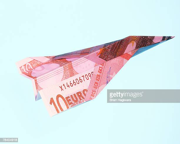 Paper airplane made of a Euro banknote