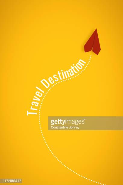 paper airplane travel destination concept on yellow background - gliding stock pictures, royalty-free photos & images