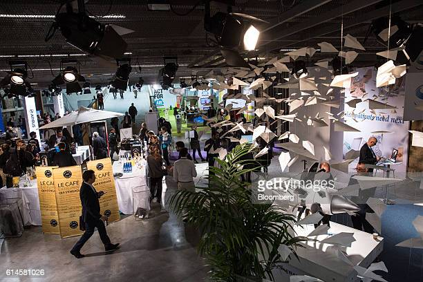 "Paper airplanes hang above the Hello Tomorrow technology conference in Paris, France, on Friday, Oct. 14, 2016. Bonnafe said that ""one of the..."