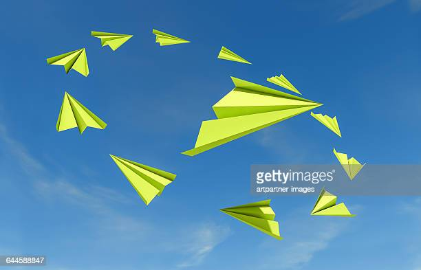 Paper airplanes in a group