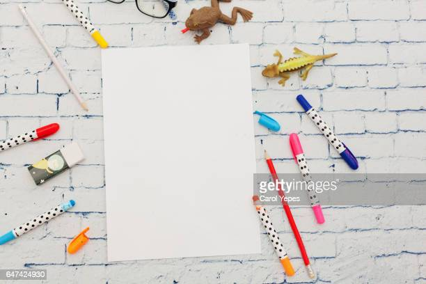 paper and color pens - colouring book stock photos and pictures