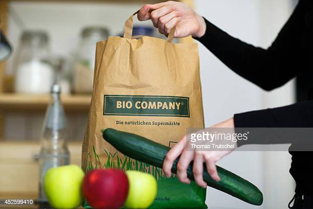 Paper bag of the German organic food chain store Bio Company on July 13 in Berlin Germany The Bio Company offers a food assortment consisting of 100%...