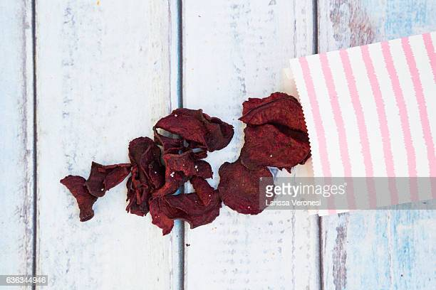 paper bag with beetroot chips and fleur de sel