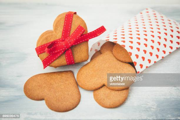 Paper bag with Heart shaped cookies for Valentine's Day