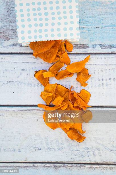 Paper bag with sweet potato chips