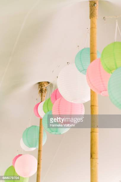 Paper balloons decoration on a wedding