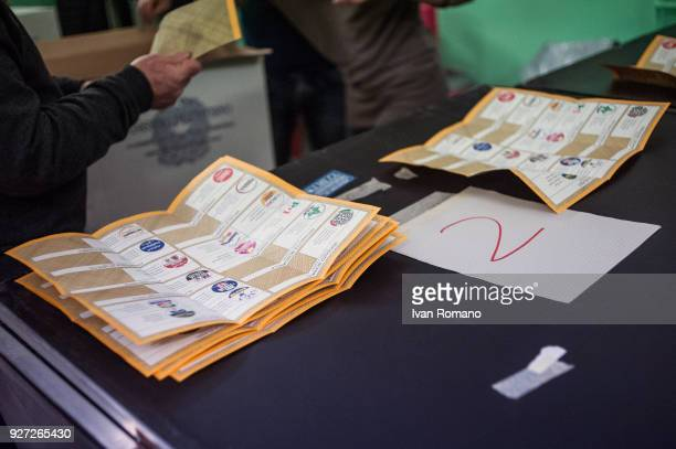 Paper ballots are counted after the end of voting in the Italian general elections on March 4 2018 in Naples Italy The economy and immigration are...
