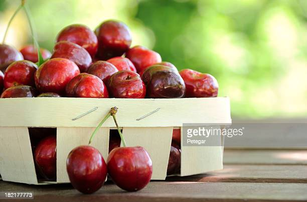 Paper basket filled with cherries