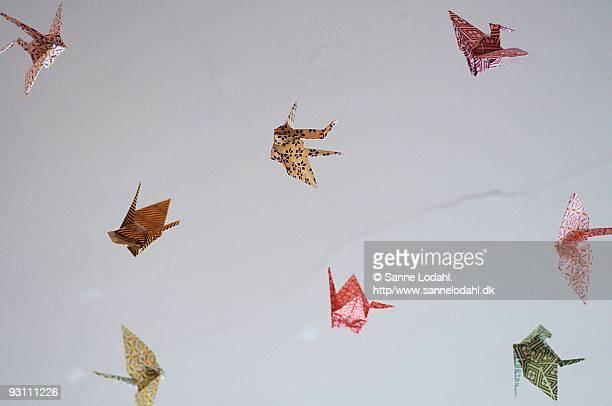 Paper birds fly