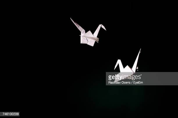 Paper Birds Over Black Background