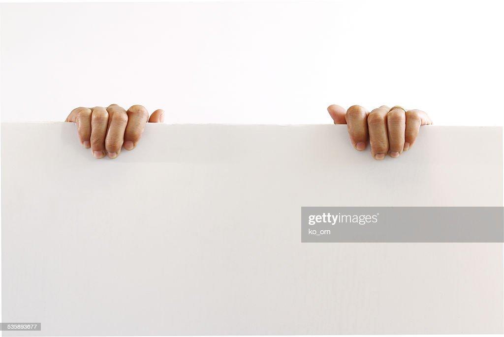 Papier leer leere Tafel in Frau hand ich : Stock-Foto