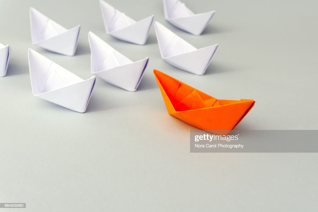 Paper Boat Business Leadership Concept : Stock Photo