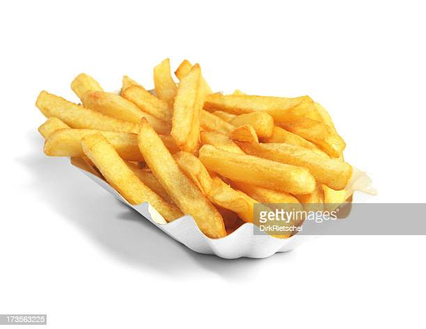 Paper boat of golden French fries on white background