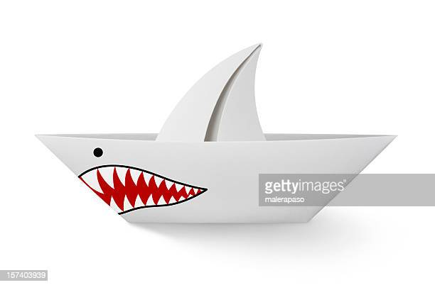 paper boat shark - animal teeth stock pictures, royalty-free photos & images