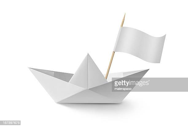 Paper boat with flag