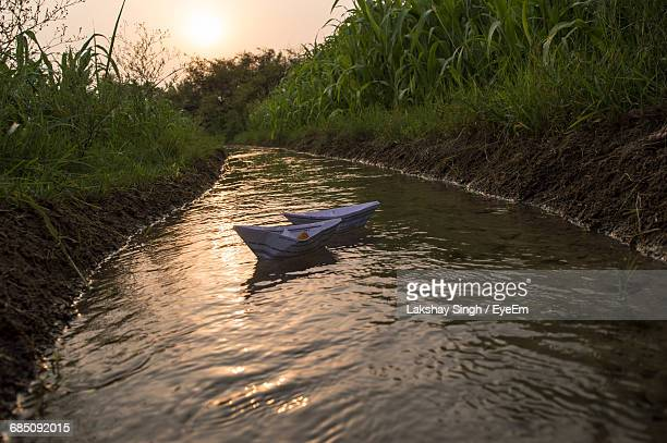 Paper Boats Floating In Stream Amidst Plants