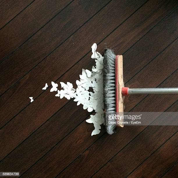 paper butterflies - broom sweeping stock pictures, royalty-free photos & images