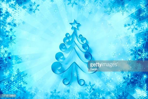 Papier Schneeflocken Hintergrund mit Weihnachtsbaum auf
