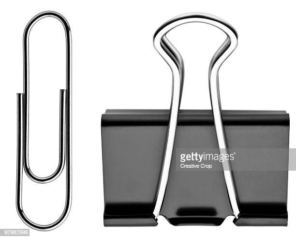paper clip and binder clip - paper clips stock photos and pictures