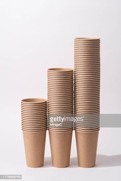 paper coffee cups stacking columns - disposable cup stock pictures, royalty-free photos & images
