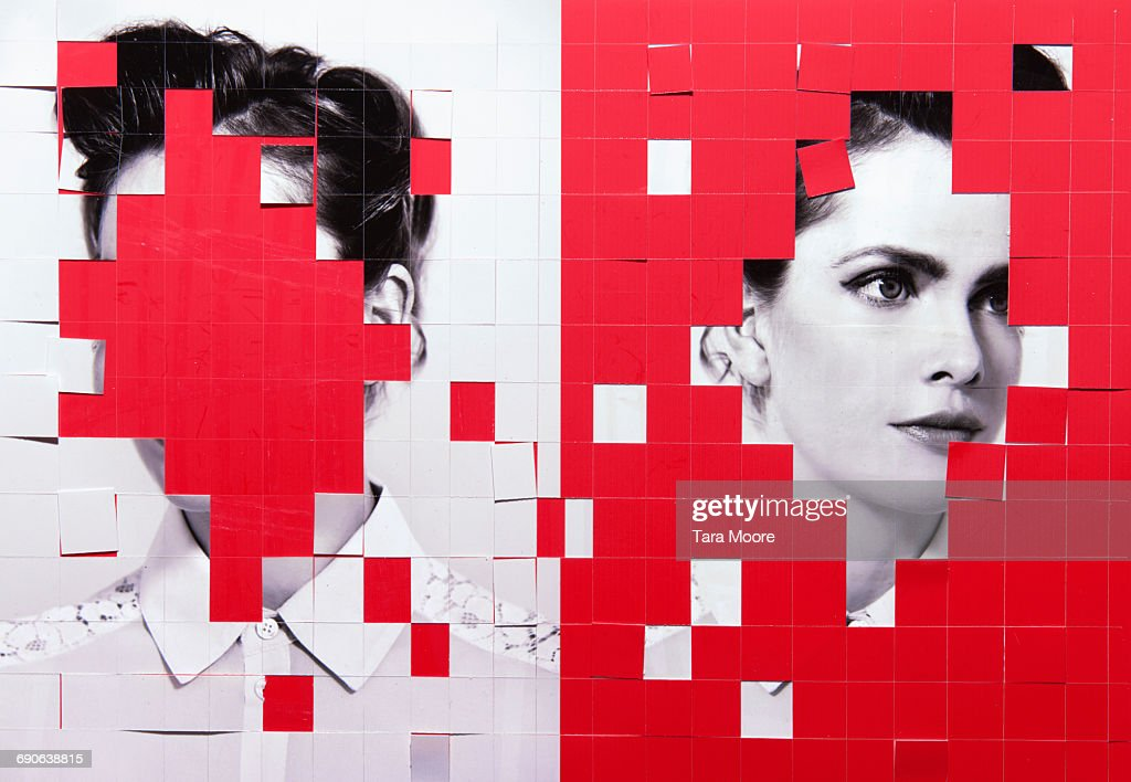 paper collage of woman : Stock Photo