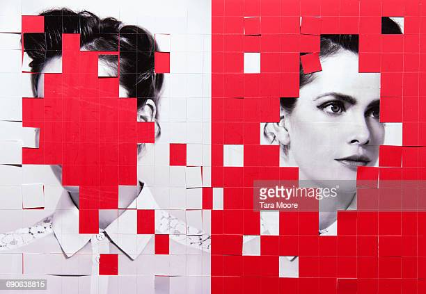 paper collage of woman - identity stock photos and pictures