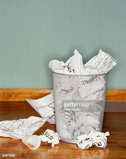 paper concepts in garbage bin - overflowing stock pictures, royalty-free photos & images