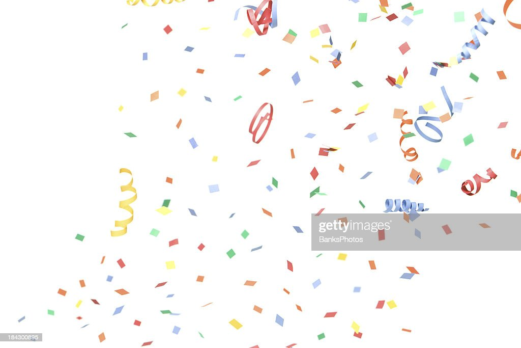 paper confetti and streamers falling isolated on white stock photo