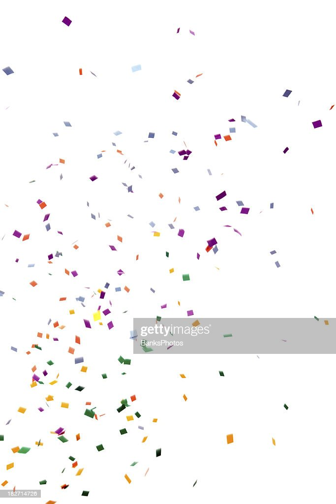 Papel Confete caindo, isolado a branco : Foto de stock