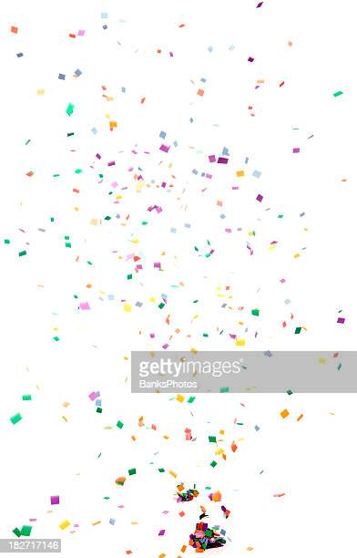 paper confetti falling, isolated on white - confetti stock pictures, royalty-free photos & images