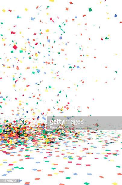 Papier Konfetti fallen zu Boden, isoliert auf weiss