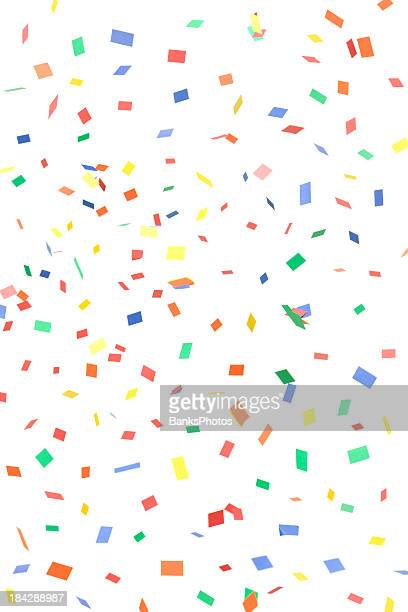 Paper Confetti Rectangles and Squares Falling, Isolated on White